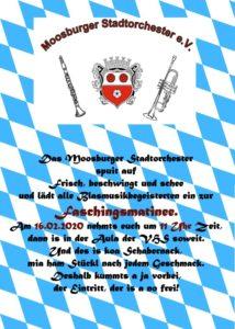 Faschingsmatinee des Stadtorchester Moosburg in der VHS Moosburg Volkshochschule Konzert